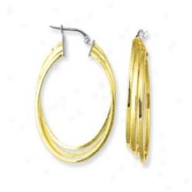 Sterling Silver And 14k Yellow Designer Three Oval Earrings