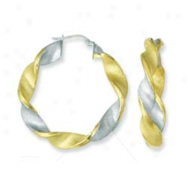 Sterling Silver And 14k Yellow Designer Twisted Earrings