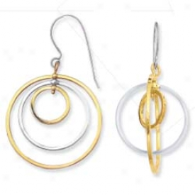 Sterling Silver And 14k Yellow Designer Two Compass Earrings