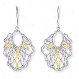 Sterling Silver And 14k Yellow Fancy Beaded Dssign Earrings