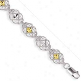 Sterling Silvet And 14k Yellow Filgree Bracelet - 7.25 Infh