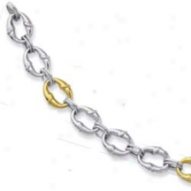 Sterling Silver And 14k Yellow Link Bracelet - 7.25 Inch