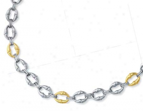 Sterling Silver And 14k Yellow Link Necklace - 18 Inch