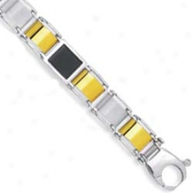 Sterling Silver And 14k Yellow Mens Bracelet - 8.5 Inch
