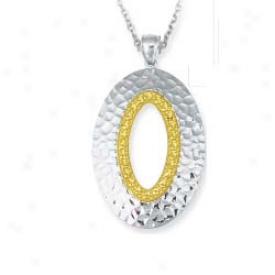 Sterling Silver And 14k Yellow Oval Shaped Pendant - 18 Inch