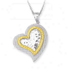 Sterling Silver And 14k Yellow Two Heart Appendix - 18 Inch