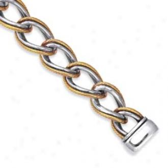 Sterling Sliver And 18k Bold Oval Link Bracelet - 7.5 Inch