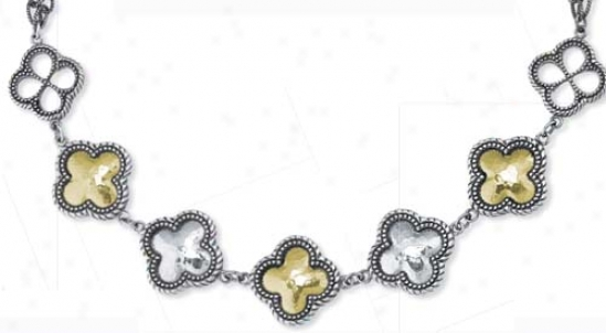 Sterling Silver And 18k Clover-shaped Necklace - 17.5 Inch