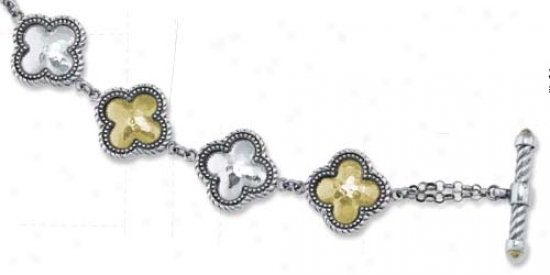 Sterling Silver And 18k Clover-shaped Toggle Bracelet - 8 In