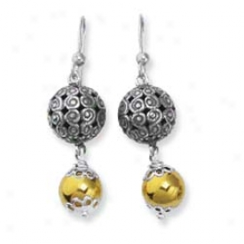Sterling Silver And 18k Filigree Bead Leverback Earrings