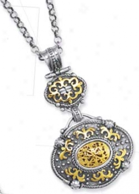 Sterling Silver And 18k Filigree Bold Necklace - 17 Inch