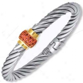 Genuine Silver And 18k Magnetic Pave-set Bangle - 7.5 Inch