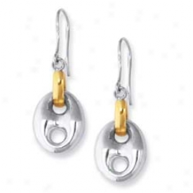 Sterling Silver And 18k Puffed Mariner Frenchwire Earrings