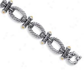 Sterling Silver And 17k Ribbed Spring Bracelet - 7.5 Inch