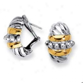 Sterling Silver Amd 18k Yellow Bold Bead Project Earrings