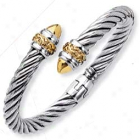 Sterling Silver And 18k Yellow Bold Bypass Bangle - 7.5 Inch