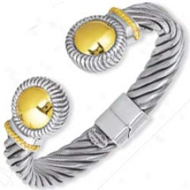 Sterling Silver And 18k Yellow Bold Cuff Bangle - 7.5 Inch