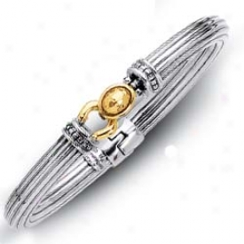 Sterling Silver And 18k Yellow Bold Designer Bangle - 7.5 In