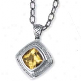 Sterling Silver And 18k Yellow Bold Designer Cushion Pendant