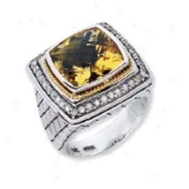 Sterling Silver And 18k Golden Bold Designer Cushion Ring