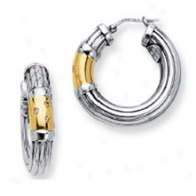 Sterling Silver And 18k Yelow Bold Designer Earrings