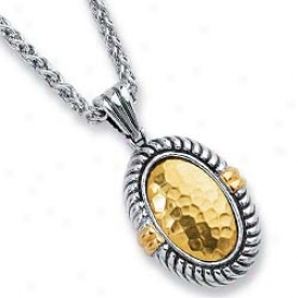Sterling Silver And 18k Yellow Bold Designer Pendant