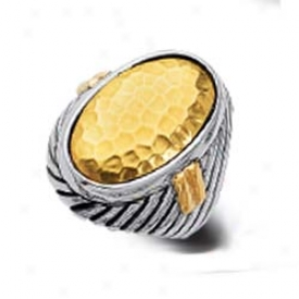 Sterling Silver And 18k Yellow Bold Designer Ring
