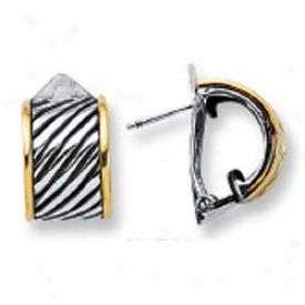 Sterling Gentle And 18k Yellow Bold Twisted Design Earrings