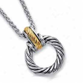 Sterling Silver And 18k Yellow Bold Twisted Design Pendant