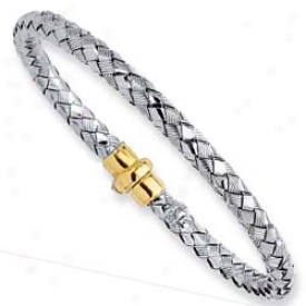 Sterling Silver And 18k Yellow Bold Woven Bangle - 7.5 Inch