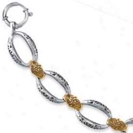 Sterling Silver And 18k Yellow Butterfly Bracelet - 7.5 Inch