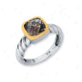 Sterling Silver And 18k Yellow Designer Cushion-cut Tingle - Si