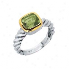 Sterling Silver And 18k Yellow Designer Cushion-cut Ring
