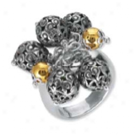 Sterling Silver And 18k Yellow Designer Filigree Bead Ring