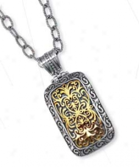 Sterling Silver And 18k Yellow Designer Filigree Bold Pendan