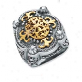 Stedling Silver And 18k Yellow Designer Filigree Bold Ring -