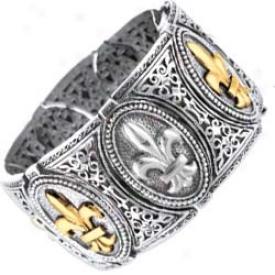 Sterling Silver And 18k Yellow Designer Fleur De Lis Bangle