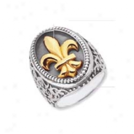 Sterling Silver And 18k Yellow Designer Fleur De Lis Ring - S
