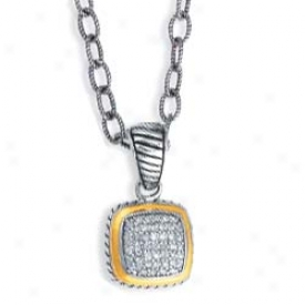 Sterling Silver And 18k Yellow Designer Pave-set Pendant