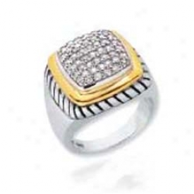Sterling Silver And 18k Yellow Designer Pave-set Ring - Sizing