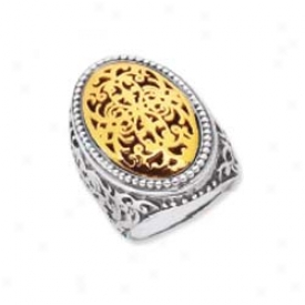Sterling Silver And 18k Yellow Designer Ring - Size 7.0