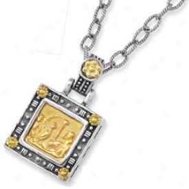 Sterling Silver And 18k Yellow Designer Square Pendant