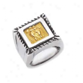 Sterling Silver And 18k Golden Designer Square Ring - Size 7.