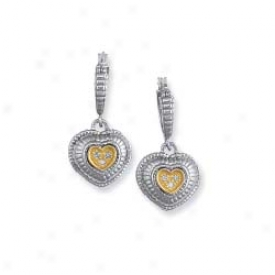 Sterling Silver And 18k Yellow Double Heart Drop Earrings
