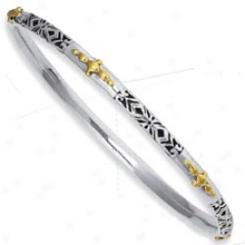 Sterling Silver And 18k Yellow Filigree Hinged Bangle - 8 In