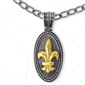 Genuine Silver And 18k Yellow Fleur De Lis Dro pPendant
