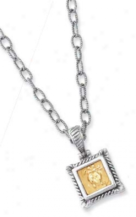 Sterling Silver And 18k Yellow Pave -set Square Pendant