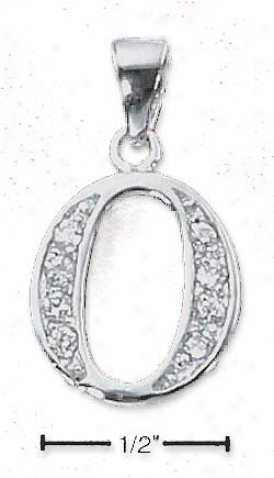 Sterling Silver And Cz Number 0 Subdue by a ~ - 1/2 In With Out Bail