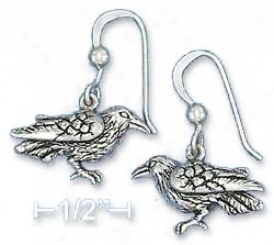 Sterling Silver Antiqued 11x19mm Raven French Wire Earrings