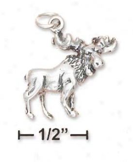 Sterling Soft and clear  Antiqued 3d Moose Charm